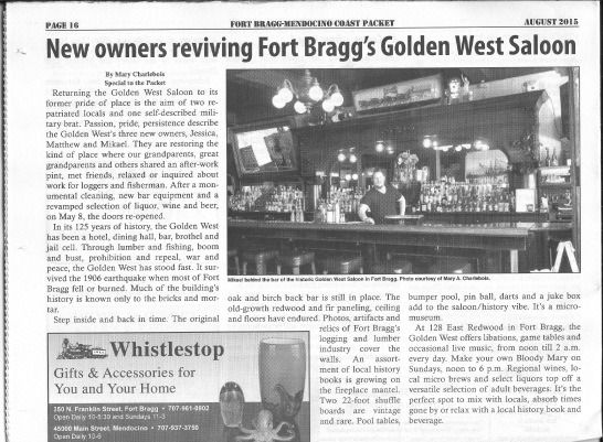 Published August 1, 2015 - Fort Bragg-Mendocino Coast Packet (copy below)