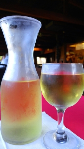 A half carafe of the house white. Captain Flints (now closed), Noyo Harbor, Fort Bragg California. Photo: Mary Charlebois