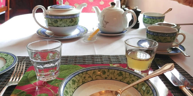 Breakfast tea at Lower Wythall, Ross on Wye