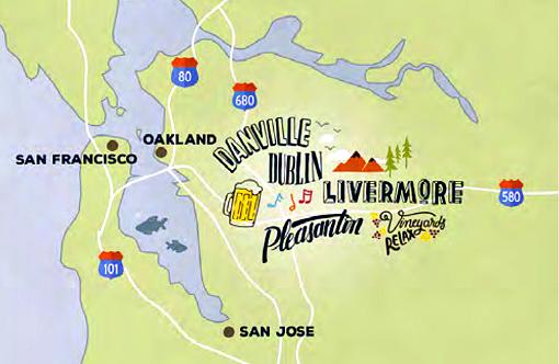 Map of Tri-Valley California - Pleasanton, Livermore, Dublin, and Danville.
